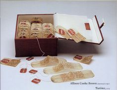 journaling. allison cooke brown. Book made from tea bags etc.
