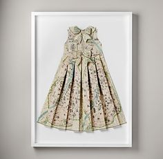 hand-folded vintage map dress 599.  High style with a hand-folded twist. Expertly crafted from a beautifully illustrated vintage map, our pleated paper dress makes for a striking sartorial display. Handmade for one-of-a-kind character in New Zealand and framed in the USA.