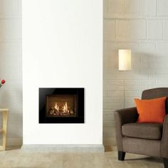 Riva2 500 Icon Black Glass Gas Fires Balanced Flue Black Reed Effect Lining