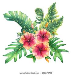 Ilustration of a bouquet with yellow-pink hibiscus flowers and tropical plants. Hand drawn watercolor painting on white background.
