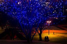 شاهد ماذا حدث حول العالم في أسبوع طوكيو، اليابان زوجان يجلسان تحت مصباح الشارع في حديقة.