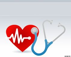 This is a cardiology design with a stethoscope and a red heart embedded into a Heartbeat Powerpoint template ready to be used in your health, medical, presentations or key notes