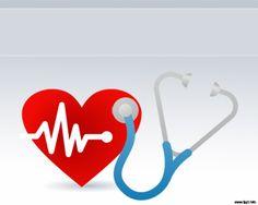 Pulso Cardiaco Plantilla Powerpoint con estetoscopio y corazón