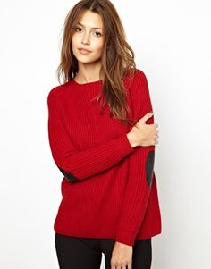 Vanessa Bruno Athé Knitted Jumper with Elbow Patch in Leather