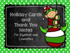These FREE holiday cards and thank you notes are perfect for giving to your students and coworkers before Christmas break! I included Happy Holidays, Merry Christmas and Thank You. Each card comes in red and green and with and without text. Just print on card stock, cut and sign your name.