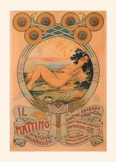 ART NOUVEAU POSTER Vintage Italy Poster by EncorePrintSociety