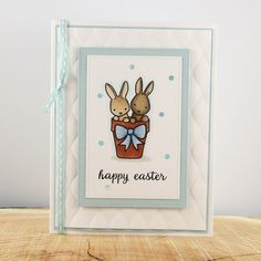Easter Bunny Card, Cute Easter Rabbit Card, Unique Easter Card, Hand stamped Easter card by TrioCards on Etsy