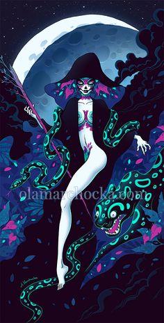 Santa Muerte by aleksandracupcake on DeviantArt Neon Jungle, Jungle Print, Werewolf Girl, Deviantart, Grim Reaper, Story Inspiration, Surreal Art, Prints For Sale, Frames