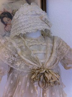 Beautiful Antique Lace French Doll Dress Bonnet FOR A BRU Jumeau Kestner Doll | eBay