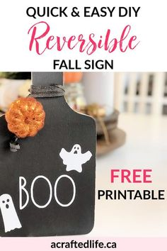 Looking for simple ways to add Fall & Halloween decor without clutter? Make this Quick and Easy DIY Reversible Sign for your home today! Use the FREE downloadable Rae Dunn inspired graphics to create a cute seasonal decoration! Fall | Autumn | Craft | Wall Signs | Wood Sign | Rae Dunn Inspired | Thrift Store Makeover | Cutting Board | Upcycle | Dollar Store Decor