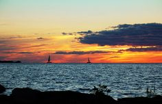 Distant Sailboats Photograph Photography by Aimee L Maher http://aimee-maher.artistwebsites.com/featured/distant-sailboats-aimee-l-maher.html Landscape sunset seascape nature photo sailboat fine art photo gift $37 Pin It