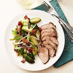 Mustard-Rubbed Pork Tenderloin With Brussels Sprout Ragout