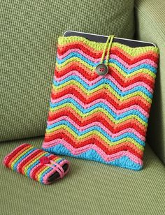 Rainbow Stripes Tablet or Phone Sleeve - easy (free pdf instructions - stash buster)