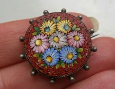 Antique jewellery vintage micro mosaic micromosaic silver ? floral brooch in Jewellery & Watches, Vintage & Antique Jewellery, Vintage Costume Jewellery   eBay