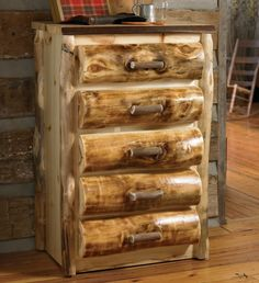 rustic log chest | Elk Antler 5 Drawer Log Chest