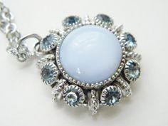 Vintage Blue Moonglow Rhinestone Pendant by GrandVintageFinery, $18.95