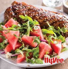 Watermelon-Arugula Salad with Grilled New York Strip Steaks is summer on a plate. 'Nuff said.
