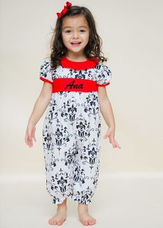 Special Occasion White & Black Damask Girl's Long Bubble