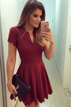 Burgundy Sweet Scallop Pleated Skater Fit and Flare Dress