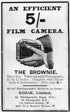 "c. 1901 British Brownie ad. ""Not a toy"" conflicts with entire marketing campaign in the United States."