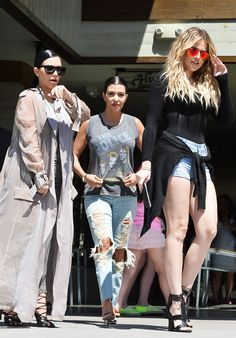 Khloé Kardashian Wears Sexy Short Shorts to Lunch With Kim and Kourtney After Romantic Dinner Date With James Harden: See Pics!  Kim Kardashian, Khloe Kardashian, Kourtney Kardashian