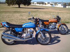 1972 Kawasaki 750 H2 - pipey and fast and didn't get one except in my dreams. Part of the 250, 500 and 750 lineup.