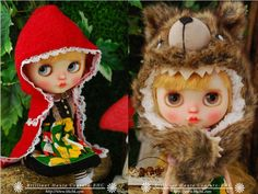 BHC FN677 Baby Wolf with Riding Hood Dress Set for Kenner Blythe doll outfit  #BHC