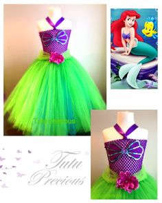 Disney Inspired Ariel The Little Mermaid Tutu Dress - dressing up costume