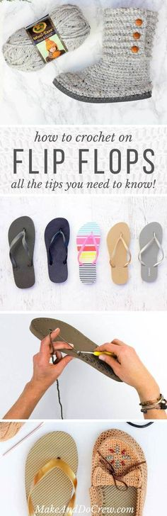 How To Crochet On Flip Flops (And will they fall apart?)- How To Crochet On Flip Flops (And will they fall apart?) If you& curious how to crochet on flip flops, this post will answer all your questions including if they fall apart over time. Crochet Booties Pattern, Crochet Boots, Crochet Slippers, Love Crochet, Diy Crochet, Crochet Crafts, Crochet Clothes, Crochet Fall, Felted Slippers