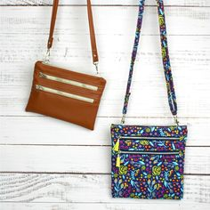 Zippy Crossbody Bags Instant Download by Sallie Tomato www.sallietomato.com Pretty and practical crossbody bag sewing pattern in two sizes! Each bag features three zipper pockets, accessible on the outside of bag, and two inside pockets to easily organize your items! The Zippy Crossbody Bags are the perfect size for traveling, shopping, and they make great gifts! This pattern is also fat quarter friendly! Included are step-by-step graphics to help make the written directions easier to…