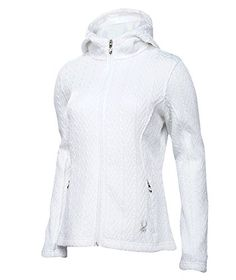 Spyder Women's Major Hoody, White, Large. Concealed zippered hand pockets.