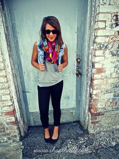 A plain tee and jeans is normally pretty boring… spice it up by adding a printed scarf and denim vest. Instant oomph!