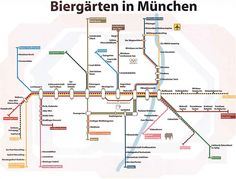 Un mapa de los Biergärten de Múnich / A map of Munich's Biergärten