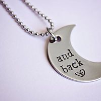 "DANDELION DEALS - Hand Stamped ""and back"" crescent moon necklace"