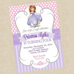 Printable DIY Sofia the First Princess Inspired Invitations, Party Invite on Etsy, $12.00