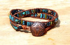 Check out this item in my Etsy shop https://www.etsy.com/listing/240134345/beaded-leather-wrap-bracelet-two-row