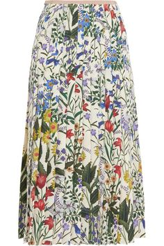 Gucci - Pleated Floral-print Silk-crepe Midi Skirt - Ivory - IT46