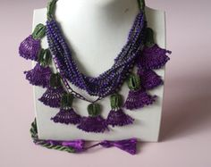 Turquoise Crochet Clove Flower Necklace Crochet by AysunCreative