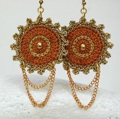 Pendant and earrings set Crochet jewelry Dangle by #lindapaula Colgante y pendientes de ganchillo #lindapaula