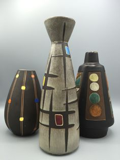 Steuler, Bay Keramik, Ceramano Inka. Midcentury WGP, 1950s / 1960s Ceramic. Pottery Designs, Pottery Art, Glass Ceramic, Ceramic Art, Century Textiles, Big Vases, Clay Vase, Keramik Vase, Vintage Vases