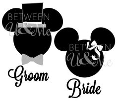 GETTING THESE!!! Personalized Bride and Groom Mickey and Minnie Mouse Disney Iron On Decal Vinyl for Shirt. $13.98, via Etsy.
