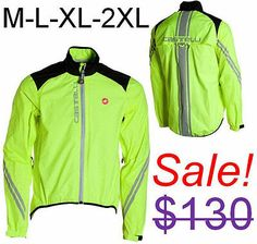 Castelli Men's Goccia Road Bike Cycling Fluorescent Reflective Night Rain Jacket | eBay, $70