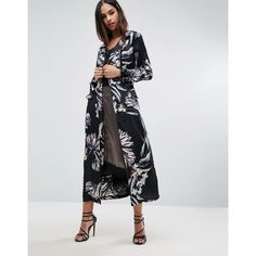 Missguided Floral Print Duster Coat ($68) ❤ liked on Polyvore featuring outerwear, coats, multi, zip coat, duster coat, floral print coat, floral coat and tall coats