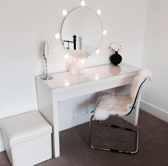 Ikea malm dressing table with round mirror and lights! Ideal for dressing room! : Ikea malm dressing table with round mirror and lights! Ideal for dressing room! Home Bedroom, Bedroom Decor, Master Bedroom, Bedroom Ideas, Bedroom Styles, Ikea Malm Dressing Table, Dressing Tables, Dressing Table Mirror, Dressing Rooms