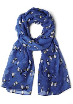 Waddle You Do Next? Scarf - Blue, Multi, Print with Animals, Better, Sheer, Woven, Casual, Critters, Gifts Sale, Top Rated