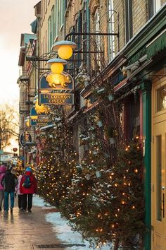 Petit Champlain neighborhood at Christmas, Quebec City, Canada Quebec City Christmas, Canada Christmas, Christmas In The City, Christmas Town, Christmas Scenes, Christmas Travel, The Places Youll Go, Places To Visit, Chateau Frontenac