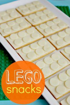 Lego Cheese & Cracker Snacks for Kids (cut circles with the wide end of a frosting tip).  kids party food and snacks.  boys birthday.  entertaining for kids.  party favors.  dessert table.