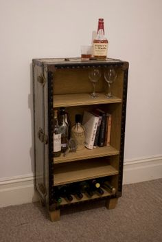 Shop for trunk on Etsy, the place to express your creativity through the buying and selling of handmade and vintage goods. Drinks Cabinet, Liquor Cabinet, Kitchen Organization, Organized Kitchen, Bookshelves, Upcycle, Projects To Try, House Design, Wine Racks