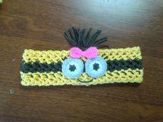 Crochet girl minion stretchy headband