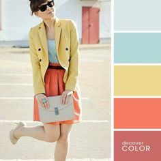 looks inspired by Zooey Deschanel's fun and girly style! Colour Combinations Fashion, Color Combinations For Clothes, Fashion Colours, Colorful Fashion, Color Combos, Image Coach, Estilo Glamour, Colour Pallette, Color Balance